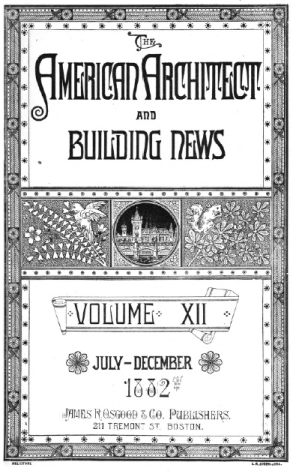 Cover of 'The American Architect and Building News', volume Xii, July-December 1882.