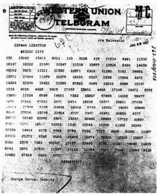 Zimmermann telegram as sent to the German legation in Mexico City.