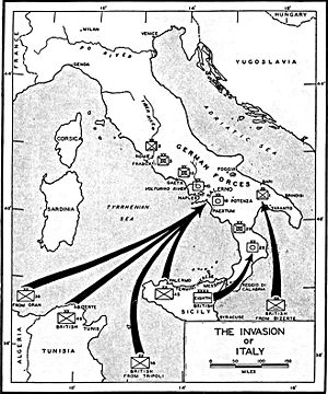 Map of the 1943 invasion of Italy.