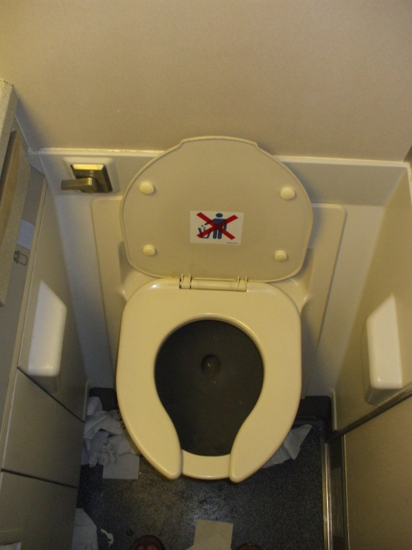 Toilet on board a KLM B747.