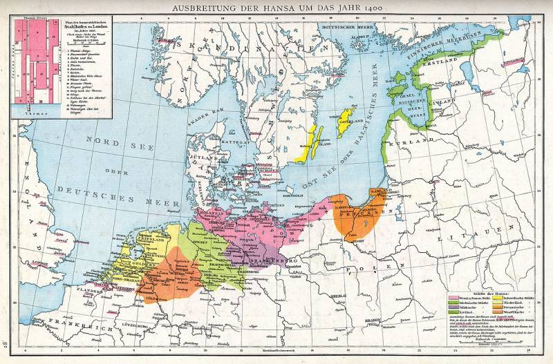 The Hanseatic League in 1400, from https://en.wikipedia.org/wiki/File:Ausbreitung_der_Hanse_um_das_Jahr_1400-Droysens_28.jpg