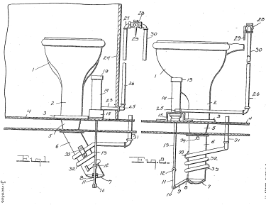 Patent drawing of a drop chute or hopper toilet dumping waste directly onto the tracks.