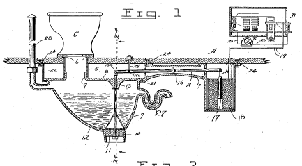 Patent drawing of a toilet holding tank to dilute waste with water before dumping it directly onto the tracks.
