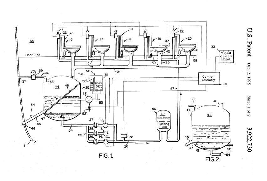 US Patent 3,922,730 A diagram of recirculating toilet system for use in aircraft or like