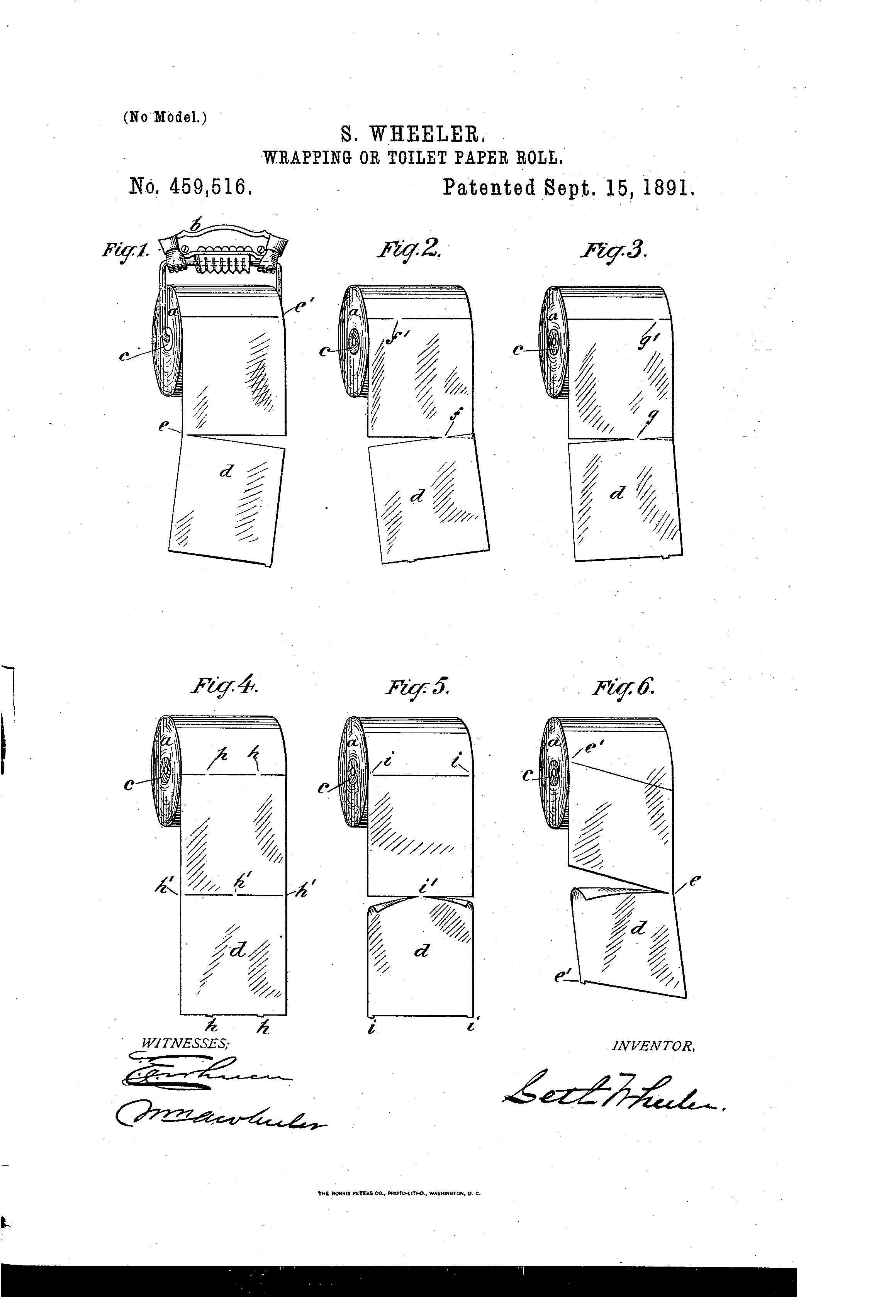 How to install a toilet paper roll, from U.S. Patent US 459,516 A by Seth Wheeler, 1891.