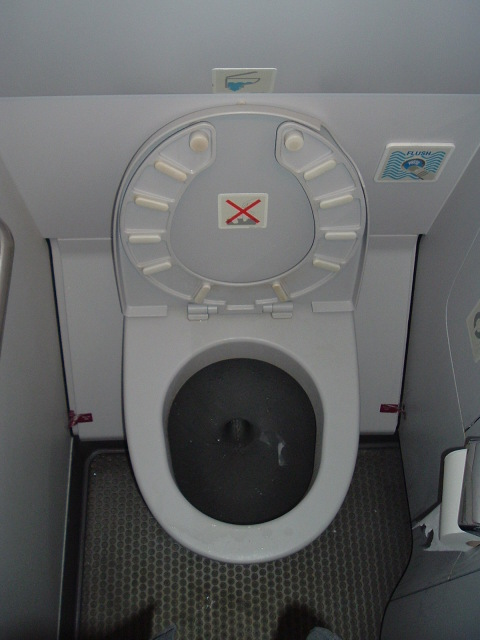 One roll of toilet paper in an Airbus A330 airliner lavatory.