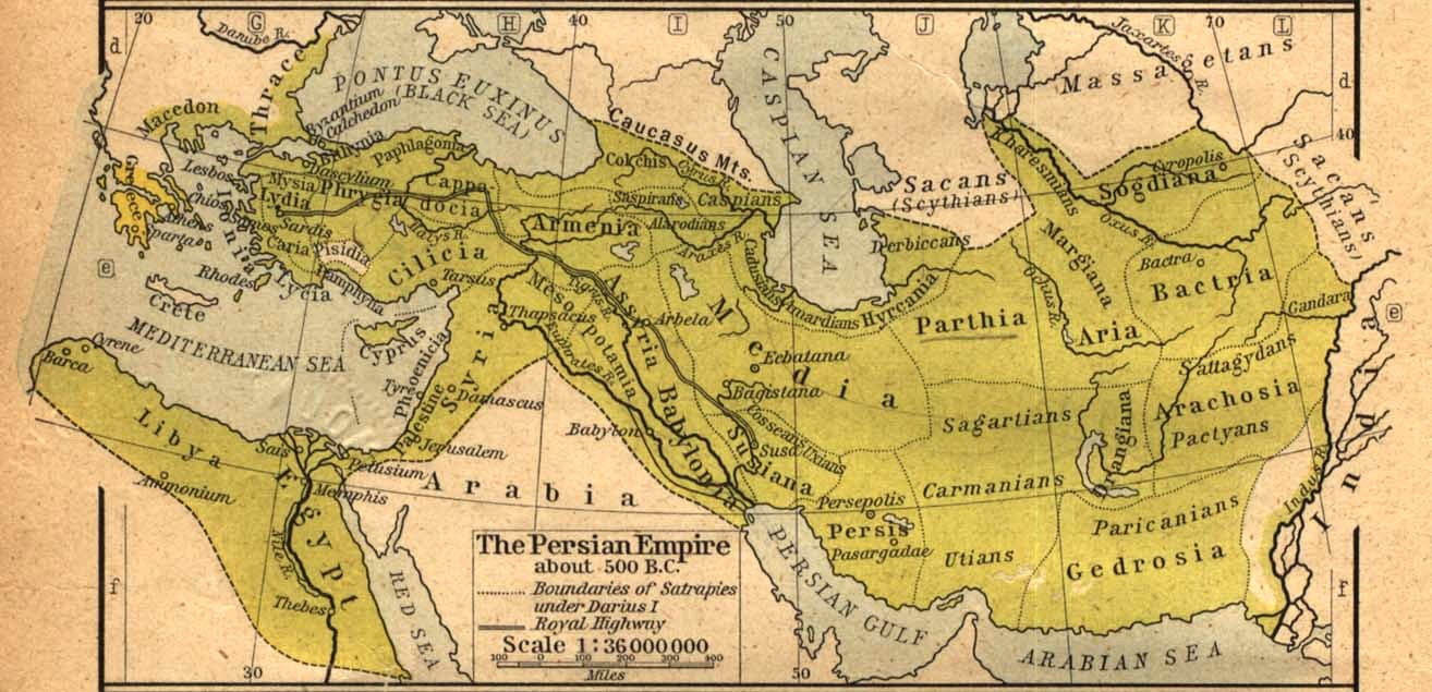 Map of the Achaemenid Empire about 500 BC, from https://en.wikipedia.org/wiki/File:Map_of_the_Achaemenid_Empire.jpg