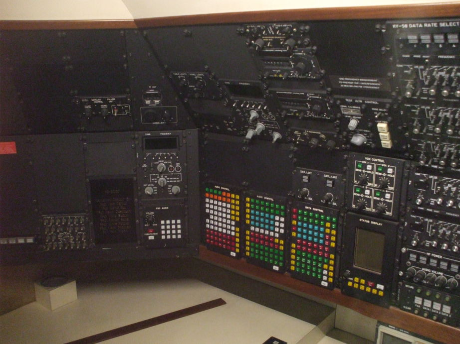 Communication station on board SAM 26000, the first Presidential aircraft designated as 'Air Force One', used by U.S. Presidents Kennedy, Johnson, Nixon, Ford, Carter, Reagan, George H. W. Bush, and Clinton.
