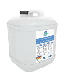 Anotec Blue SFTY-100, blue disinfectant liquid for airliner toilets.