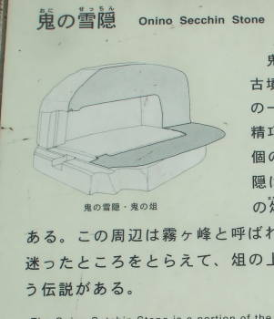 Cross-section drawing of Onino Setchin or 'Demon's Toilet' in Asuka, Japan.