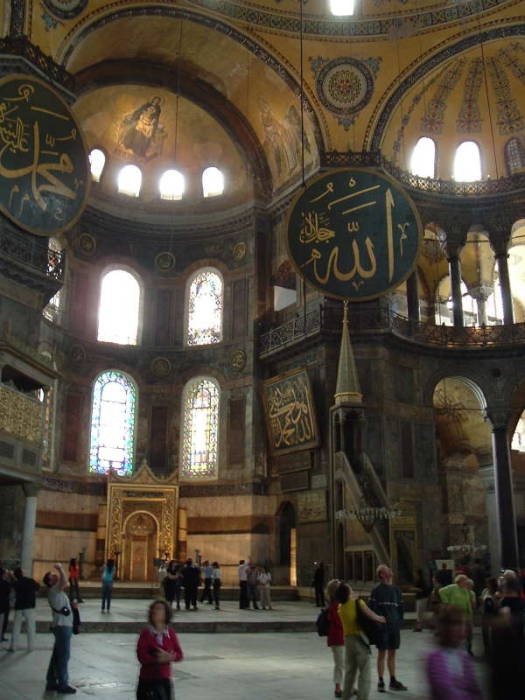 Interior of the Haghia Sofia, the Ayasofya in İstanbul.
