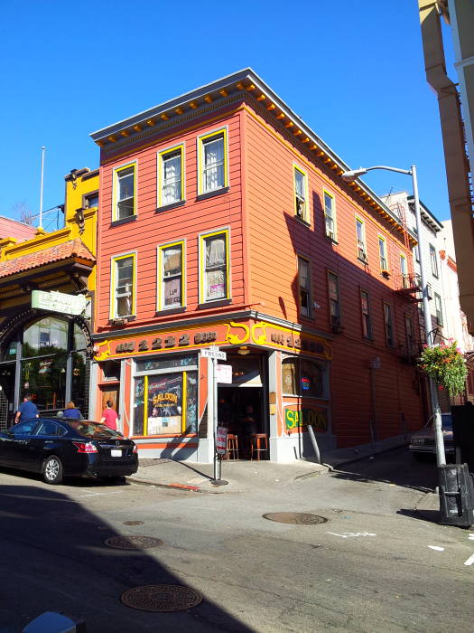 Exterior of The Saloon at 1232 Grant Avenue in the North Beach area of San Francisco.
