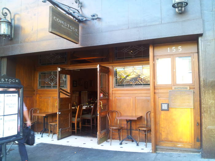 Exterior of The Comstock Saloon at Pacific Avenue and Columbus Avenue in San Francisco.