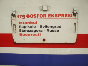 Placard on a Turkish train crossing Bulgaria from Istanbul to Bucharest.