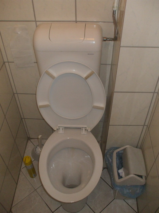 Toilet in the Radio Inn in Budapest, Hungary.