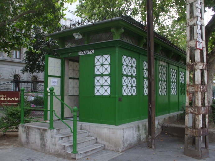 Public toilet in Budapest, Hungary.