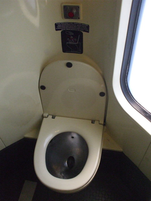 Washroom on board EuroCity passenger train from Budapest to Prague.