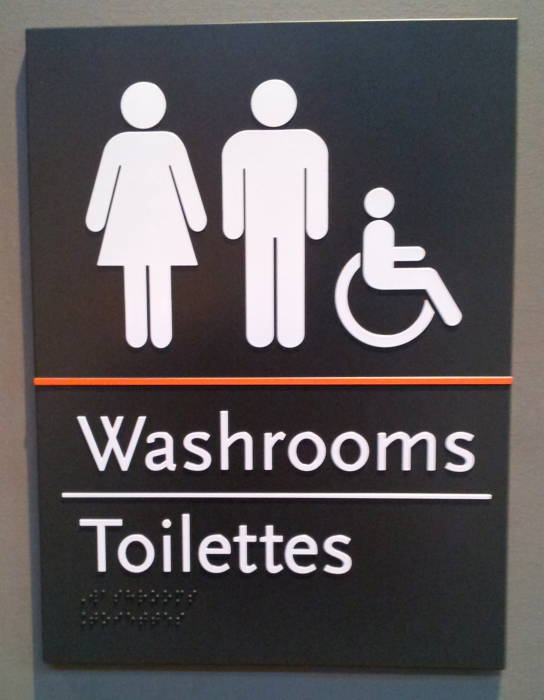 Sign for the public washrooms (or toilettes) in Ottawa, Canada.