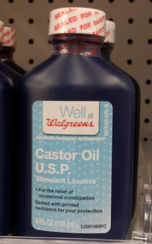 Bottle of castor oil laxative.