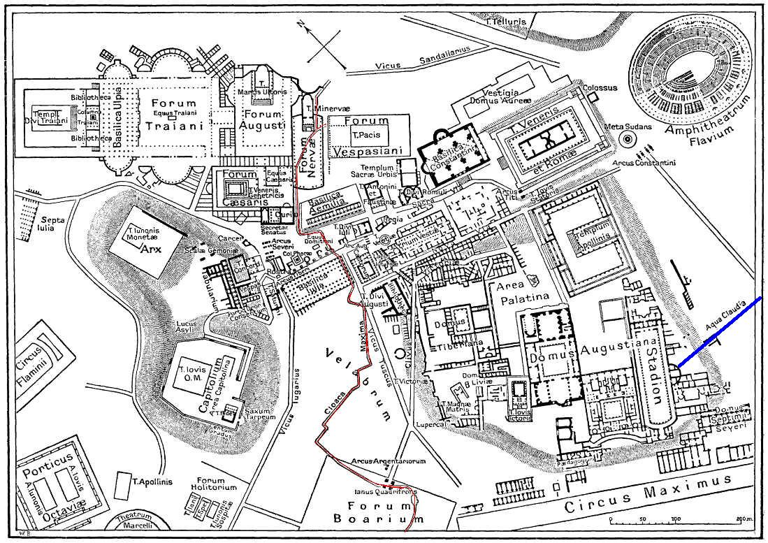 Map of central Imperial Rome showing the Cloaca Maxima running under the Forum, from https://en.wikipedia.org/wiki/File:Map_of_downtown_Rome_during_the_Roman_Empire_large-annotated.jpg
