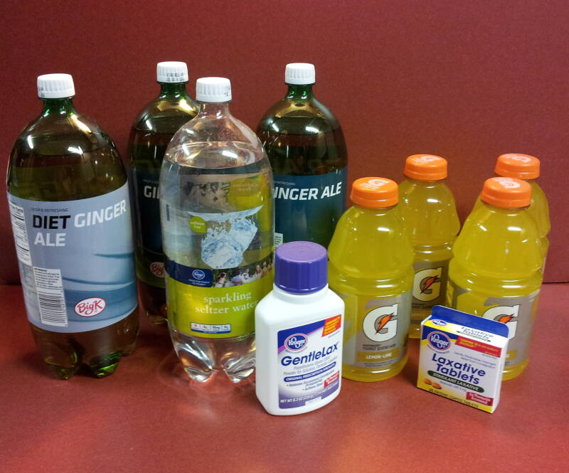 Laxatives, sports drinks, and soft drinks.