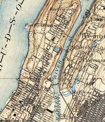 1889 topographical map of New York showing the Croton Aqueduct High Bridge connecting Bronx and Manhattan.