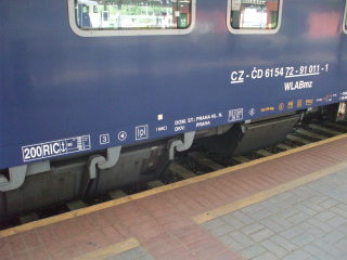 City Night Line passenger train from Prague to Amsterdam, Czech rail labels on passenger car.