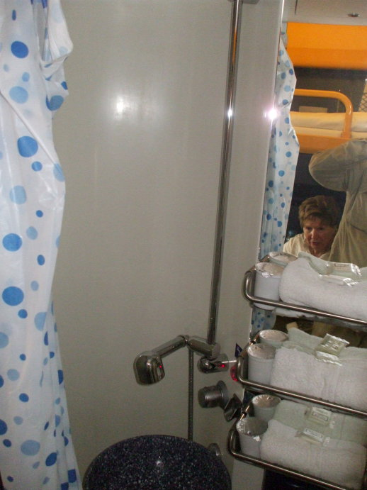 Private toilet in a first class sleeper compartment on board the City Night Line passenger train from Prague to Berlin, Köln, and Amsterdam.