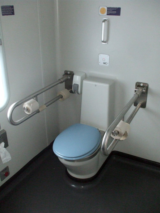 Handicap accessible toilet on board the City Night Line passenger train from Prague to Berlin, Köln, and Amsterdam.