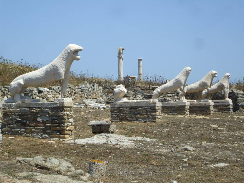 Lion statues on the Terrace of the Lions near the Sanctuary of Apollo on the sacred island of Delos.