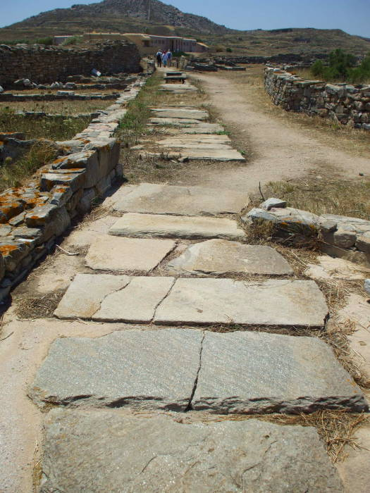 Street with buried sewer on Delos.