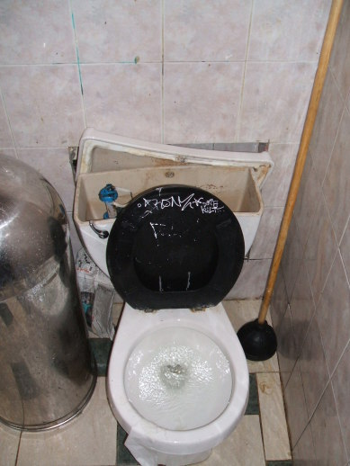 Toilet in a pizza parlor in the East Village, Manhattan, NY.