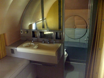 Executive lavatory on board Dwight Eisenhower's Presidential aircraft, a Lockheed Super Constellation VC-121E named 'Columbine III', view of front of aircraft.