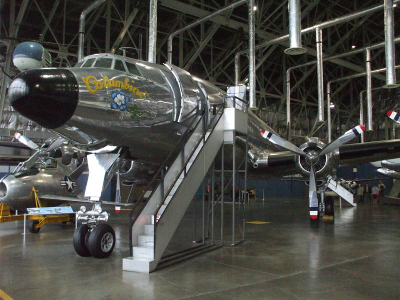 Dwight Eisenhower's Presidential aircraft, a Lockheed Super Constellation VC-121E named 'Columbine III', view of front of aircraft.