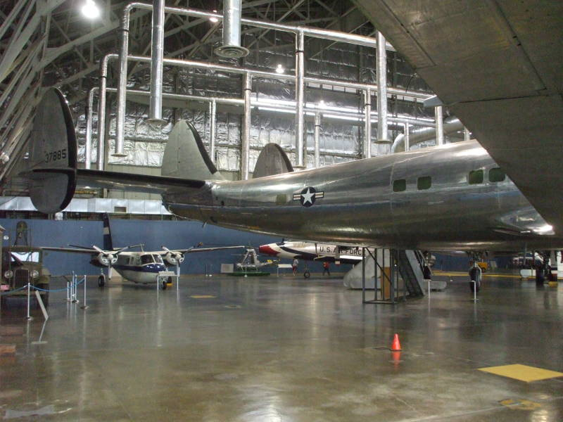Dwight Eisenhower's Presidential aircraft, a Lockheed Super Constellation VC-121E named 'Columbine III', view of rear of aircraft.