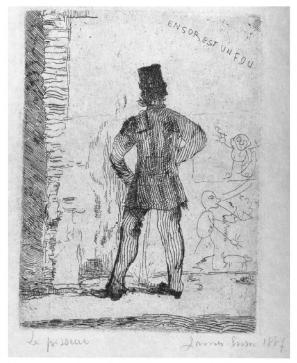 James Ensor's 'Man Pissing, Ensor est un Four' (1887) from https://books.google.com/books?id=u1wpDwAAQBAJ&pg=PA78&lpg=PA78&dq=rembrandt+pissing+man+1631&source=bl&hl=en&f=false