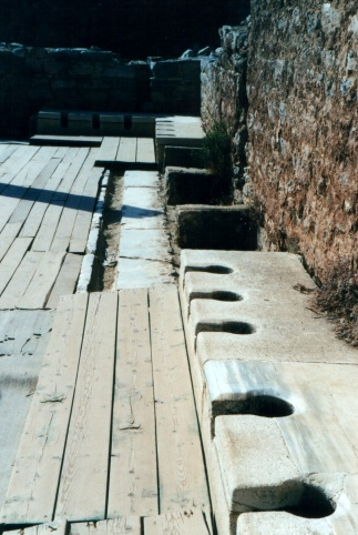 Ancient Greek toilets in Ephesus, in west Turkey.