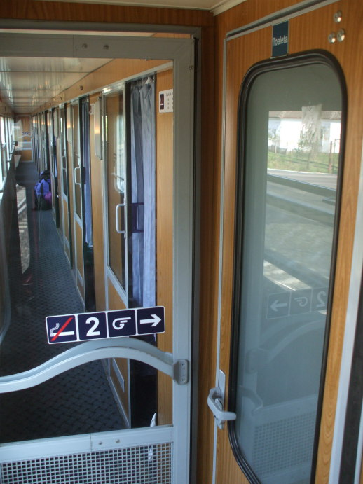 Corridor of EuroNight passenger train from Romania to Hungary.