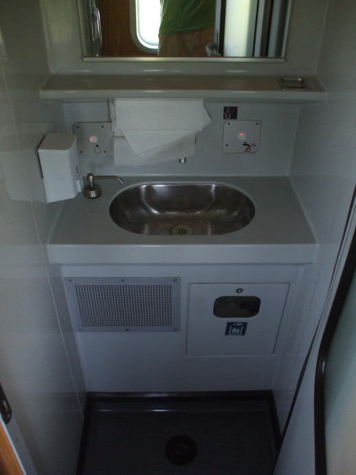Sink in the washroom of EuroNight passenger train from Romania to Hungary.