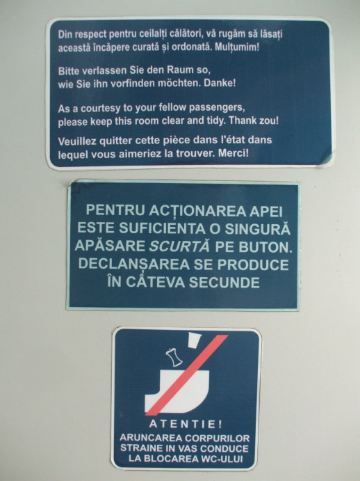 Sign in the washroom of EuroNight passenger train from Romania to Hungary.
