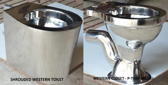 Stainless steel toilets from Fabrimech: shrouded western toilet and western closet with P-trap.