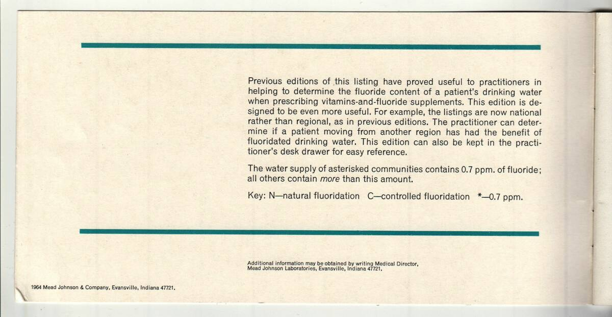 Mead Johnson 1964 booklet listing municipal water fluoridation.