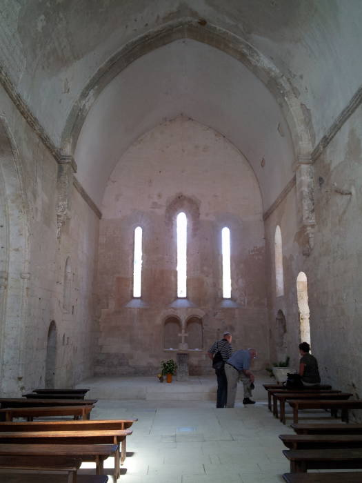 Interior of sanctuary at the Abbaye de Saint-Hilaire, near Ménerbes, in the Luberon, Provence, in southern France.