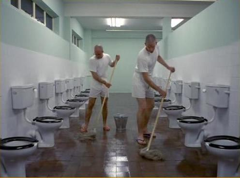 Latrine scene from Stanley Kubrick film 'Full Metal Jacket'.