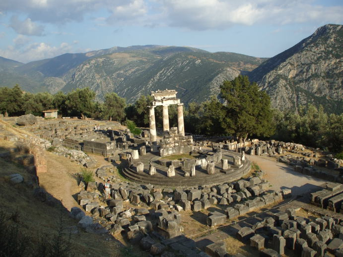 The Tholos at Delphi, a circular shrine from 380-360 BC consisting of 20 Doric and 10 Corinthian columns.