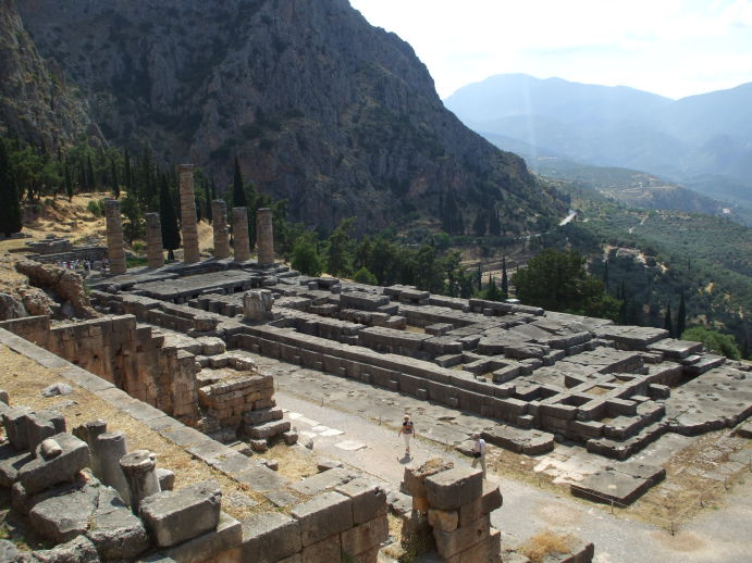 Temple of Apollo at Delphi, columns and the sacred chamber of the Pythia or Oracle.