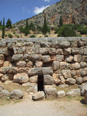 Chamber underneath the Temple of Apollo at Delphi, where the ethylene seeped up into the chamber of the Pythia or Oracle.