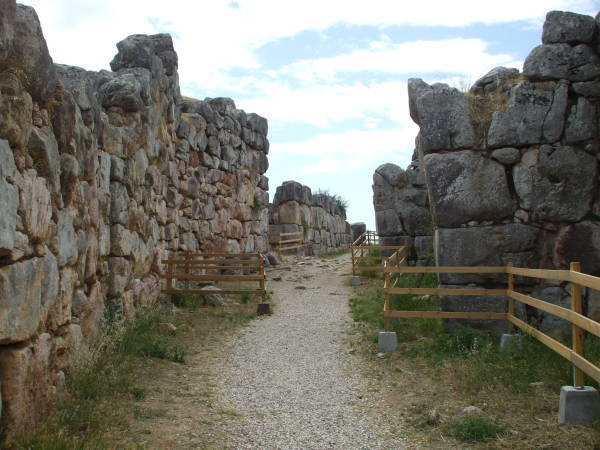 The entrance ramp at the fortress of Tiryns.