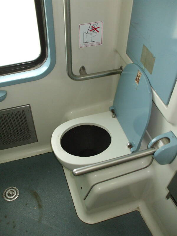 Toilet on board a Greek train from Athens to Kalambaka.
