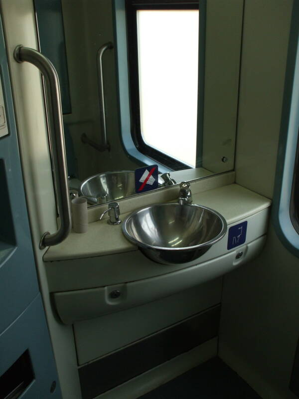 Lavatory on board a Greek train from Athens to Kalambaka.